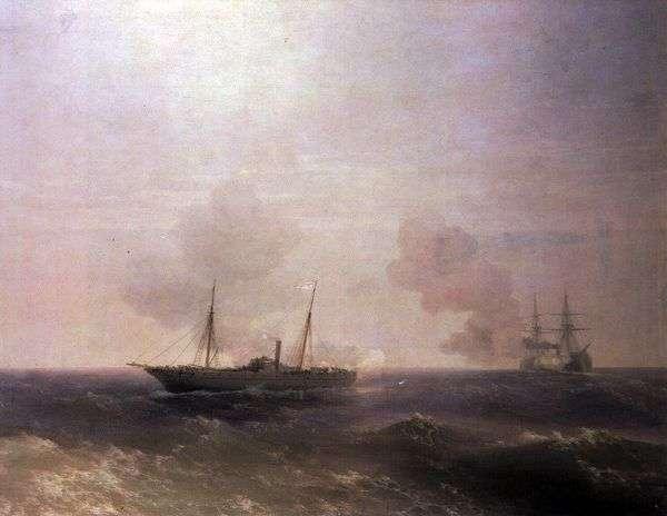 维斯塔战役与土耳其战舰Fehti Buland   Ivan Aivazovsky