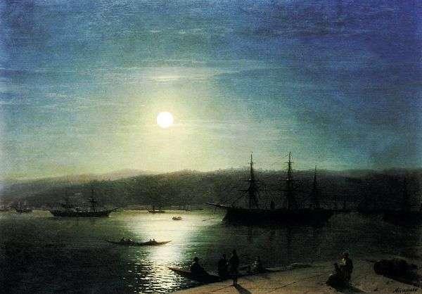 博斯普鲁斯海峡在月光下的夜晚   伊万艾瓦佐夫斯基