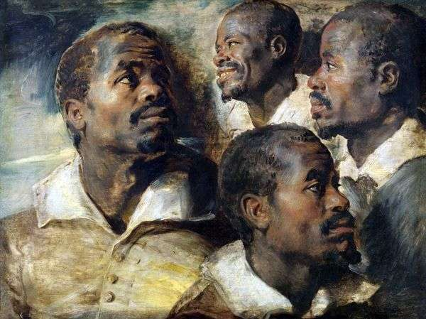 非洲头的四个草图   彼得鲁宾斯