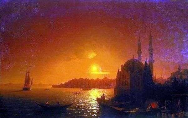 君士坦丁堡与月光   Ivan Aivazovsky的视图