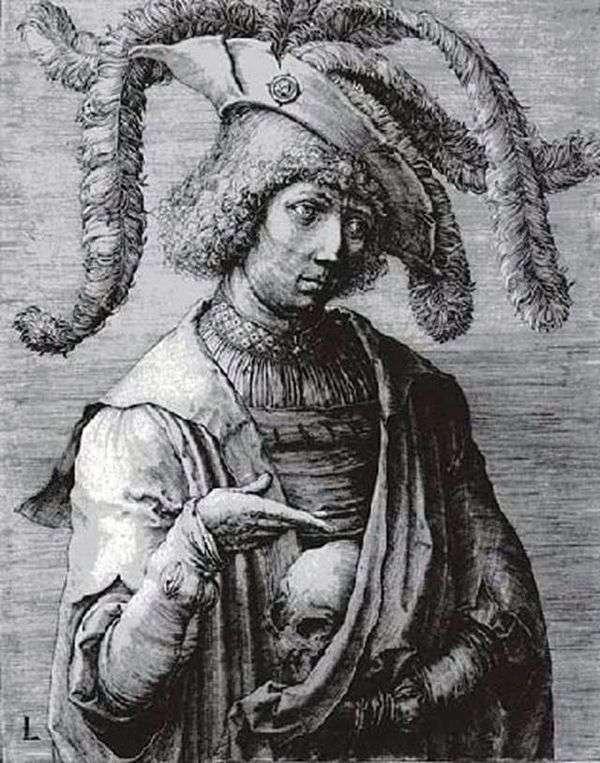 一个年轻人在他手中的头骨   卢卡斯范莱顿