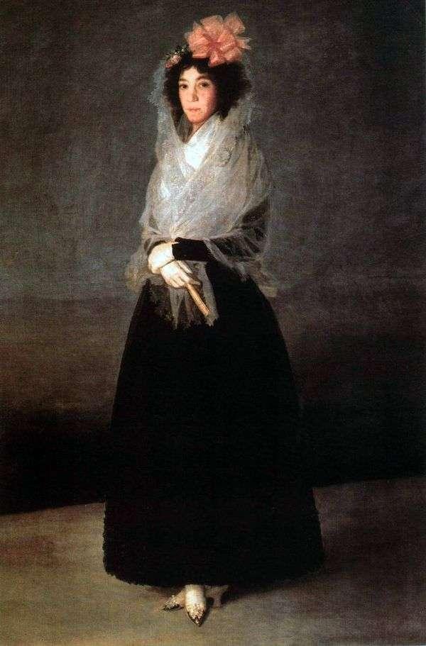伯爵夫人Carpio,Marquise de la Solana   Francisco de Goya画象