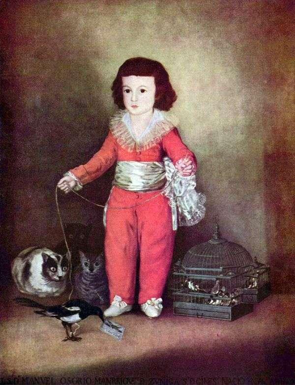 Don Manuel Osorio和Zunig Francesco de Goya的肖像