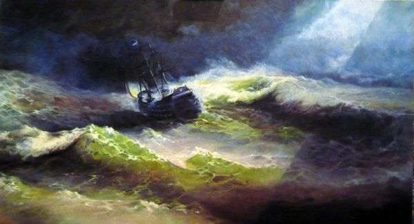 风暴期间的船皇后玛丽亚   伊万艾瓦佐夫斯基