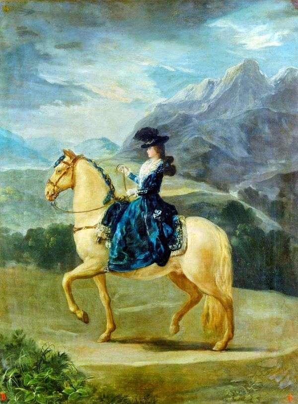 玛丽亚Theresa de Bourbonne Vallabriga画象在马背上   Francisco de Goya