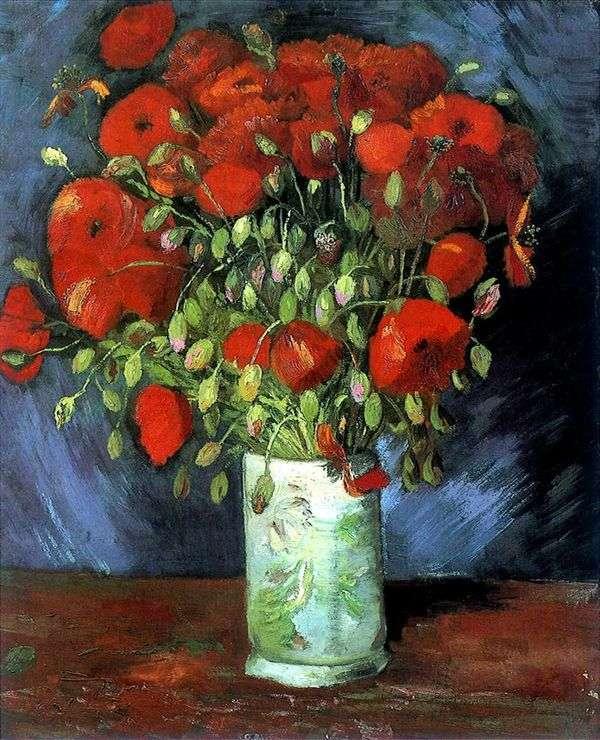 红罂粟花瓶   文森特凡高