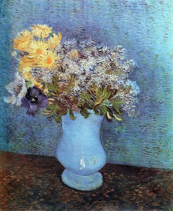 淡紫色,雏菊和海葵的花瓶   文森特梵高