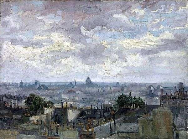 俯瞰巴黎的屋顶   文森特梵高