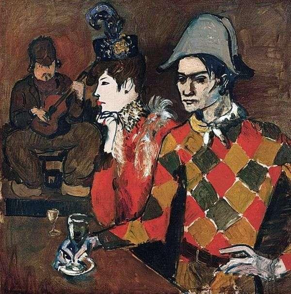 在Nimble Rabbit Cabaret或Harlequin with a Glass   Picasso Pablo