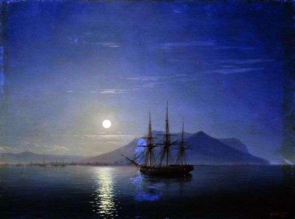 在一个月光下的夜晚   伊万艾瓦佐夫斯基的克里米亚海岸附近的帆船