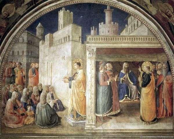 Sv。的讲道 斯特凡。在公会之前的圣斯蒂芬   Angelico Fra