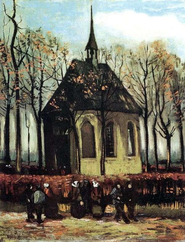 从Nuenen的新教教堂出口   文森特梵高