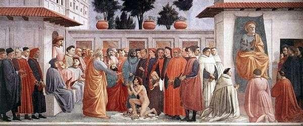Teofil的儿子和使徒彼得在部门的复活   Masaccio