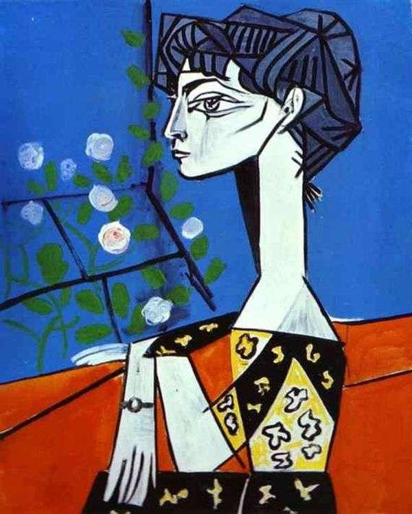 Jacqueline用鲜花   Pablo Picasso