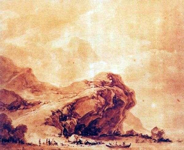 海岸的看法在热那亚   吉恩Honore Fragonard附近的