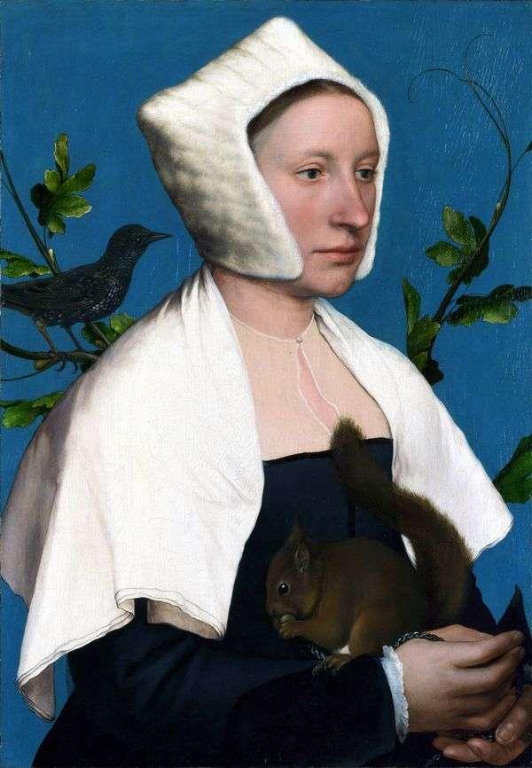 一位夫人的肖像与松鼠   汉斯霍尔拜因