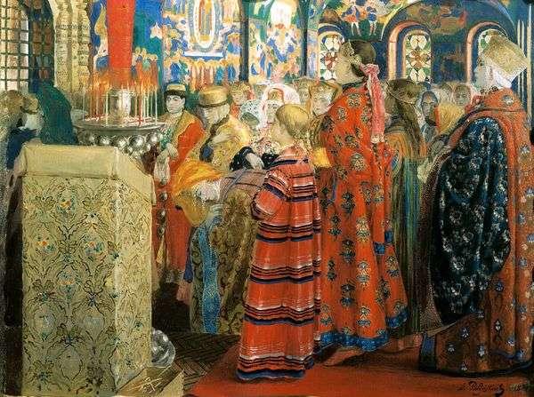 十七世纪的俄罗斯妇女在教堂   安德烈 彼得罗维奇Ryabushkin