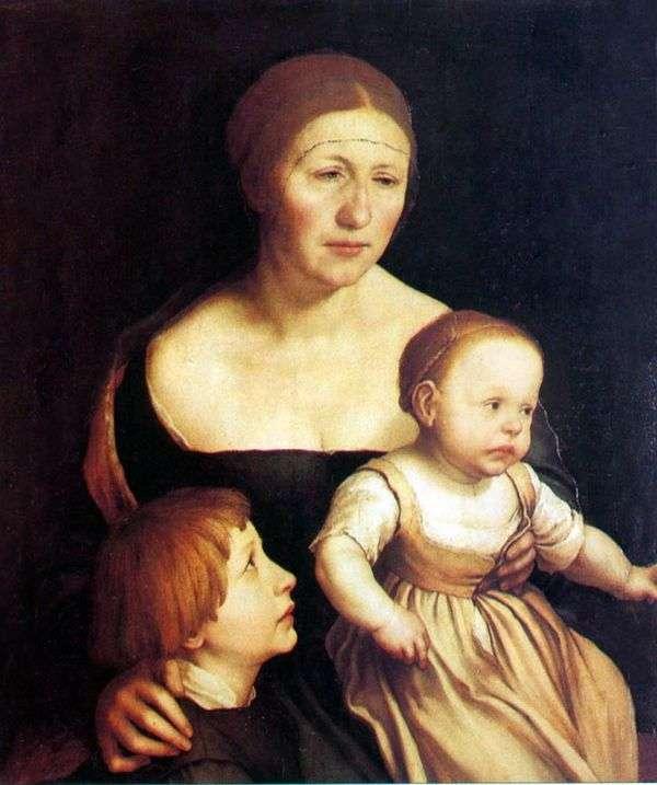 妻子和孩子的肖像   汉斯霍尔拜因