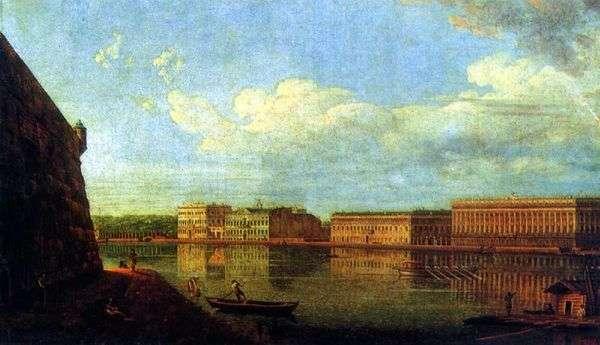 宫殿堤防的看法从彼得和保罗堡垒   Fedor Alekseev的