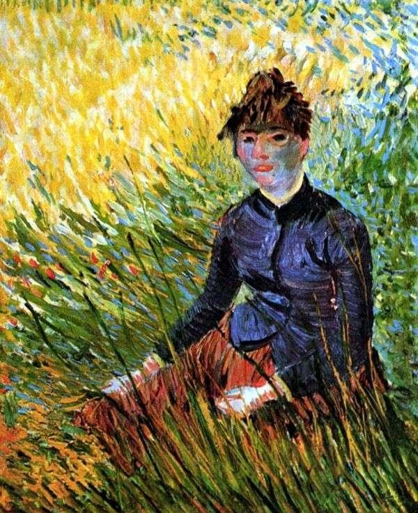坐在草的妇女   文森特梵高