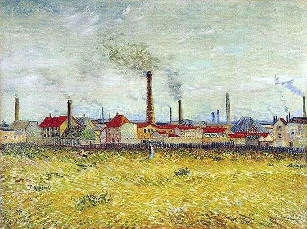 安耶尔的工厂,从德克利希的郊区   文森特梵高