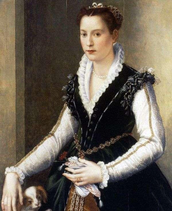 Isabella Medici和一只狗   Alessandro Allori