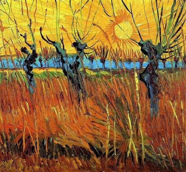 日落时的柳树   文森特梵高