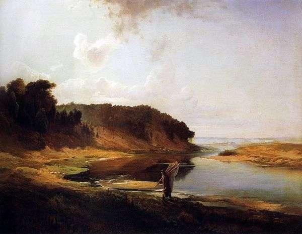 景观与河流和渔夫   阿列克谢萨夫拉索夫