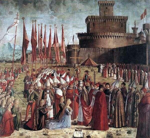 与教皇Cyriac   Vittore Carpaccio的圣厄休拉和朝圣者会议
