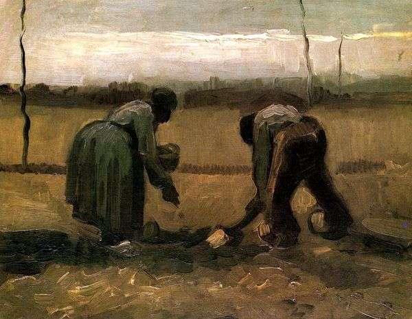 农民和农民种植马铃薯   文森特梵高