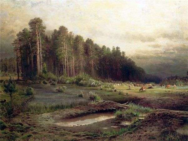 乡村景色。索科尔尼基的麋鹿岛。景观与小屋   阿列克谢萨夫拉索夫