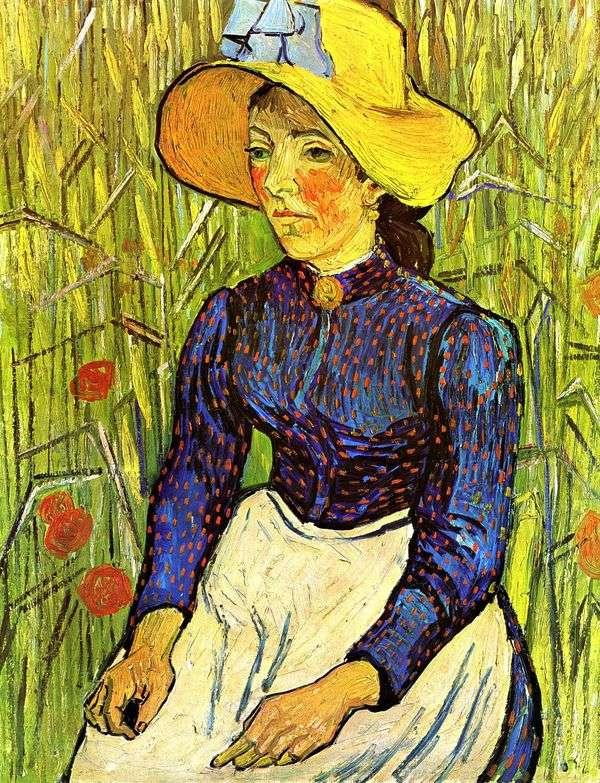 草帽的年轻农民妇女   文森特梵高