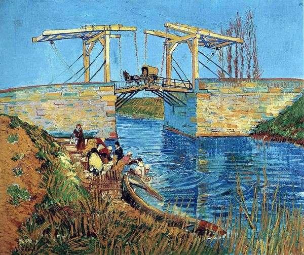 阿尔勒朗格卢瓦桥和擦除妇女   文森特梵高