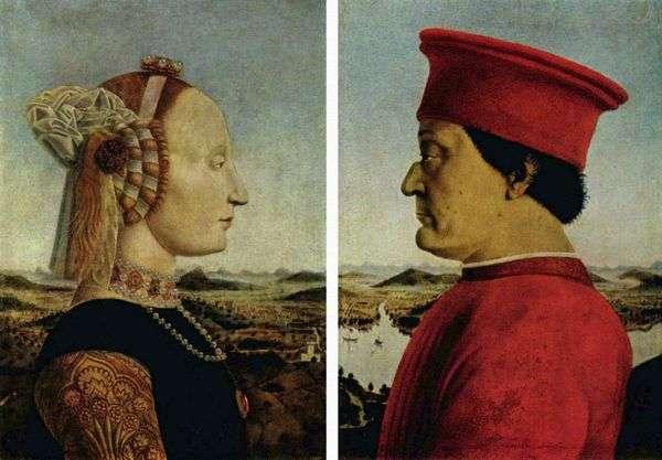 公爵Federigo Montefeltro和Duchess Battista Sforza   皮耶罗德拉弗朗西斯卡的肖像