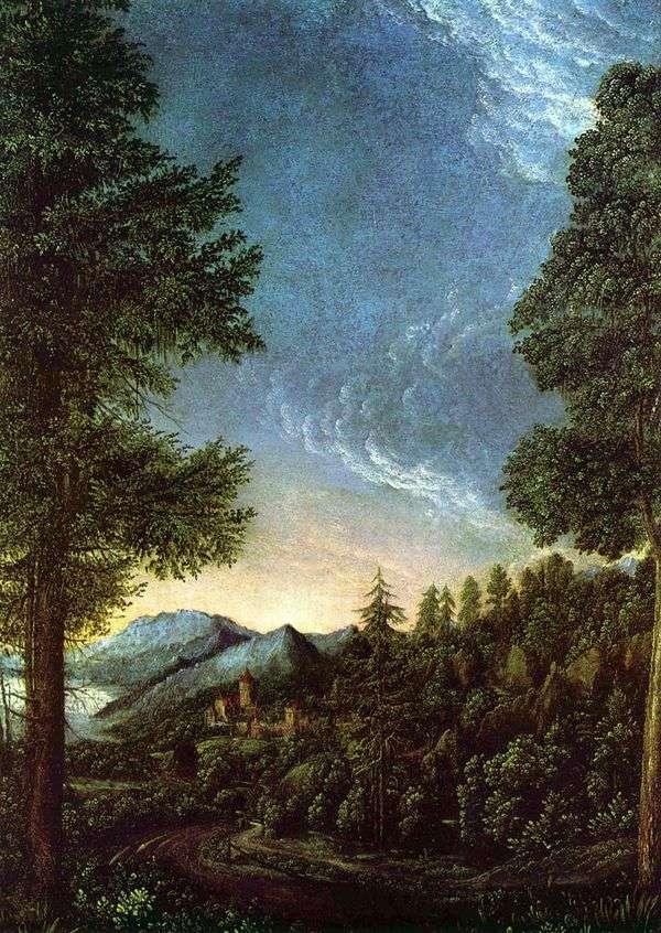 多瑙河谷的看法在雷根斯堡   阿尔布雷希特Altdorfer下