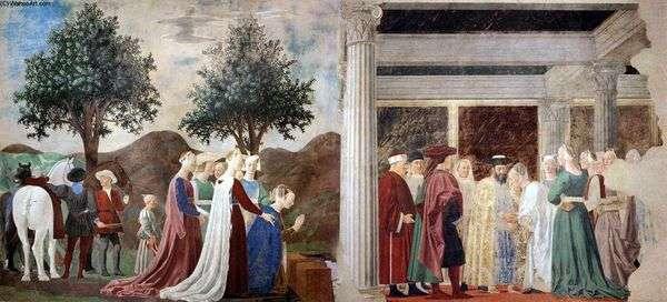 示巴女王抵达所罗门王   皮耶罗德拉弗朗西斯卡
