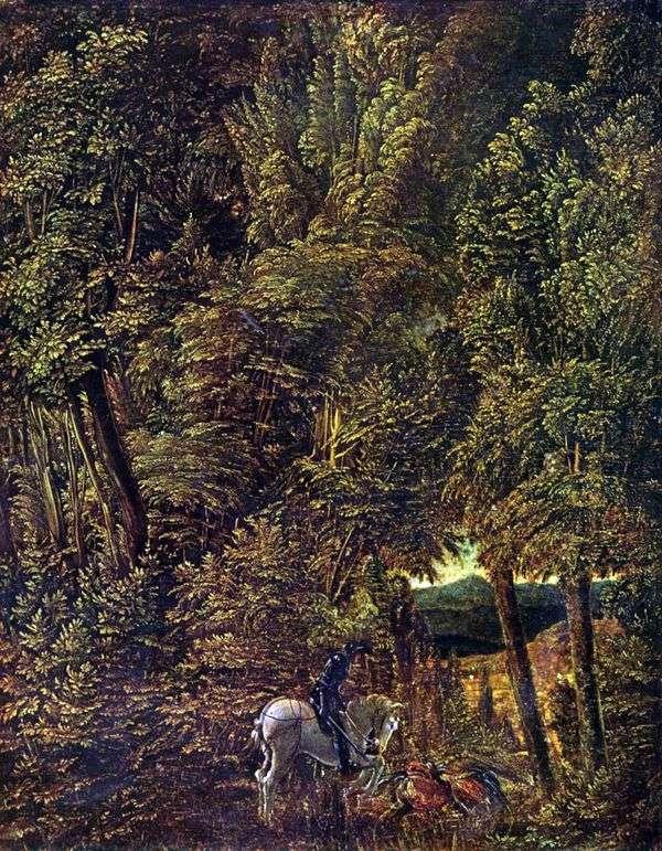 从圣森林景观 乔治打击龙   阿尔布雷希特Altdorfer
