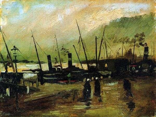码头与安特卫普的船   文森特梵高