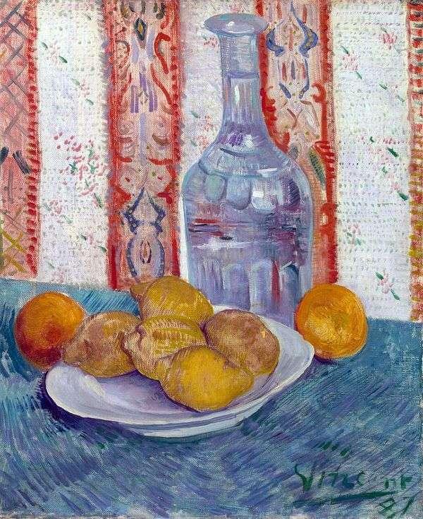 静物与玻璃水瓶和柠檬在盘子上   文森特梵高