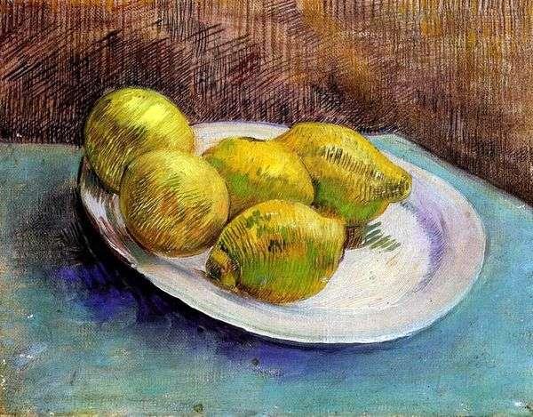 静物与柠檬在盘子上   文森特梵高