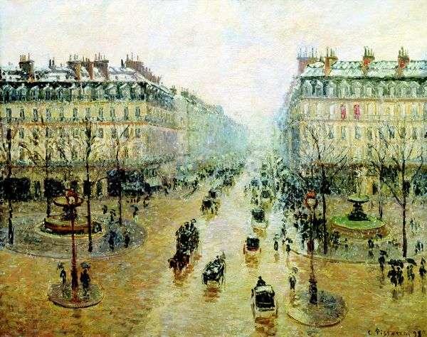 歌剧在巴黎旅行。雪的影响。早上   Camille Pissarro