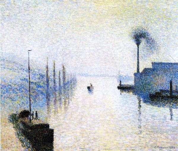 在雾中的岛屿Lacroix。鲁昂。雾效果   Camille Pissarro