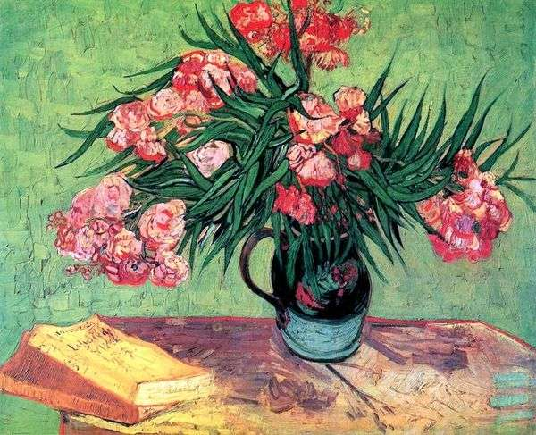 静物:一个带有夹竹桃和书籍的花瓶   文森特梵高