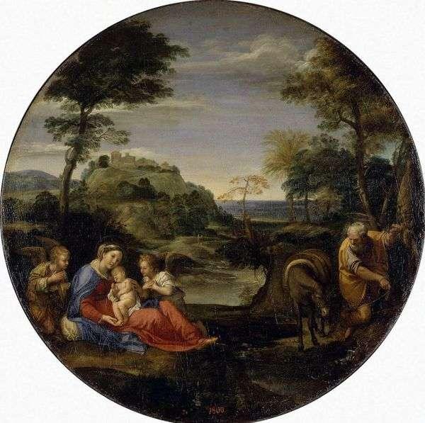 在前往埃及的途中景观与神圣家族的其余部分   Annibale Carracci