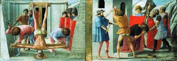 彼得的被钉十字架和施洗约翰的斩首   马萨乔