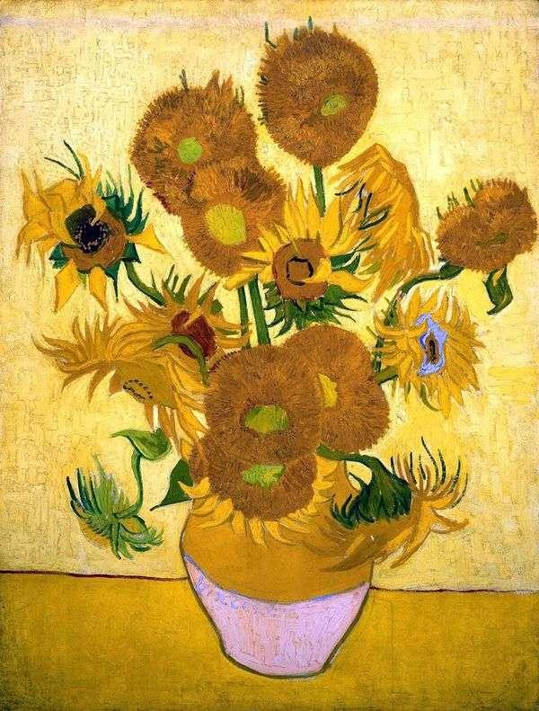 静物:花瓶中的十五朵向日葵   文森特梵高