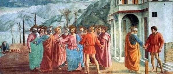 带有statir的奇迹(缴纳税款)   Masaccio