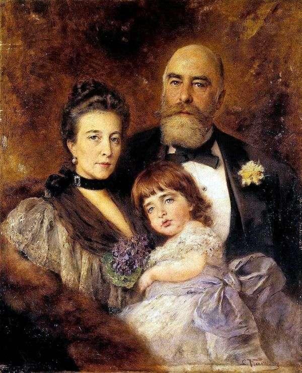 M. S. Volkov,S。N. Volkova和S. M. Volkov Manzey的集体肖像   Vladimir Makovsky