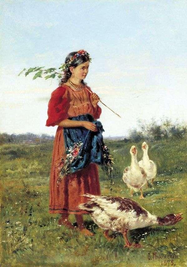 有鹅的女孩   弗拉基米尔Makovsky