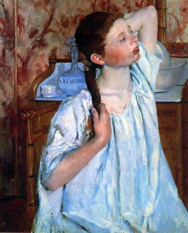 女孩梳理她的头发   玛丽卡萨特